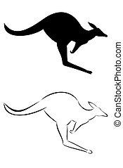 Kangaroo - A tribal kangaroo tattoo set