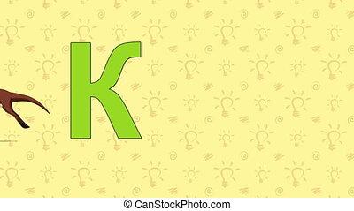 Kangaroo. English ZOO Alphabet - letter K - Animated English...