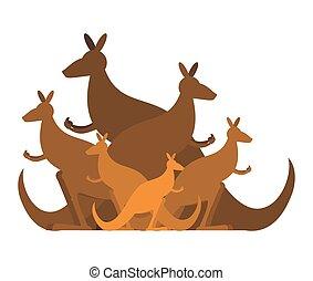 Kangaroo family. kind of Australian wallaby. herd of wild...