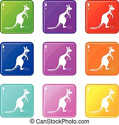 Kangaroo icons 9 set
