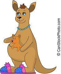 Kangaroo family, mum in slippers and baby, isolated