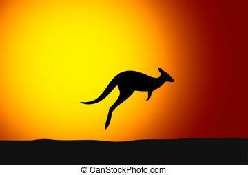 Kangaroo jumping front the sun, sunset, silhouette