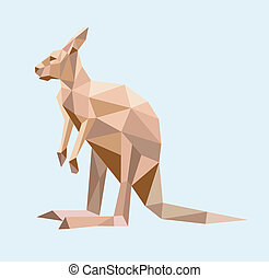 Kangaroo low poly style - Kangaroo triangle low polygon...