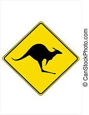 Kangaroo road sign.