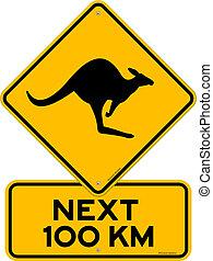 Kangaroo Sign - Yellow Vector Sign with Kangaroo danger...