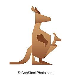 kangaroo silhouette low poly icon