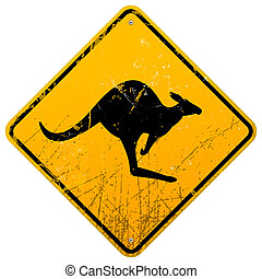 Kangaroo Vintage Sign - Damaged classic yellow Kangaroo...