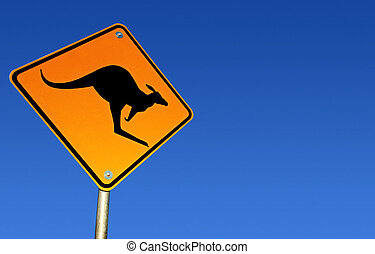 Kangaroo Warning Sign (with Path)