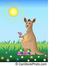Kangaroo with baby on walk