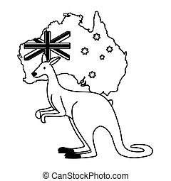 kangaroo with map of australia in the background