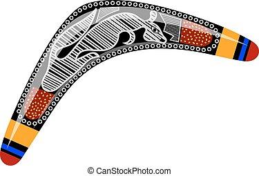kangaroo., withtribal, caricatura, experiência., vetorial, boomerang., boomerang, branca, australiano, estoque