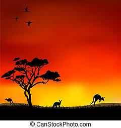 Kangaroos in the red sky