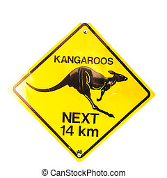 Kangaroos sign with clipping path