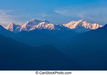 kangchenjunga, vista montaña