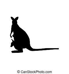 kangoeroe, silhouette, illustratie