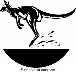 kangoeroe, springt, zijaanzicht
