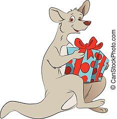 kangoeroe, vector, giftbox., vasthouden