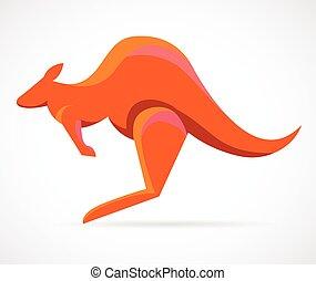 kangoeroe, -, vector, illustratie