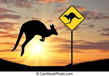 kangourou bébé, silhouette