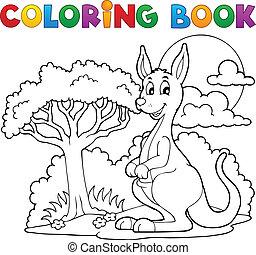 kangourou, livre coloration, heureux