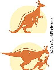 kangourou, vecteur, icône