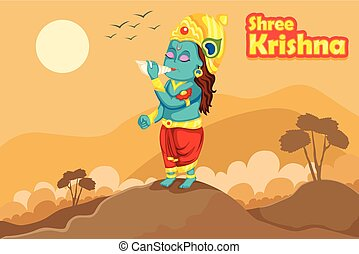 Krishna Janmashtami background - Kanha blowing sankh (conch)...