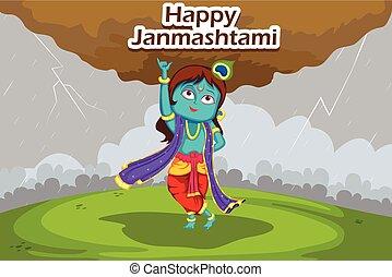 Krishna Janmashtami background - Kanha lifting mount...