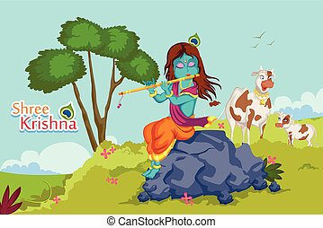 Krishna Janmashtami background - Kanha playing bansuri...