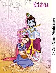 Kanha playing bansuri flute with Radha on Krishna...