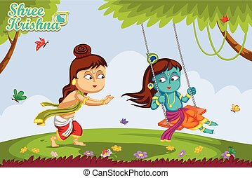 Krishna Janmashtami background - Kanha playing with Balrama...
