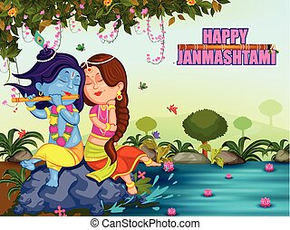 Krishna Janmashtami background - Kanha playing with Radha on...