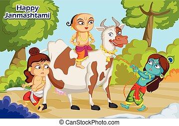 Krishna Janmashtami background - Kanha playing with Sudama...