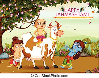 Krishna Janmashtami background - Kanha playing with Sudama...