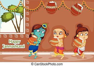 Krishna Janmashtami background - Kanha stealing makhan...
