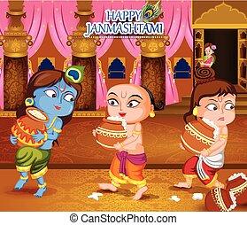 Krishna Janmashtami background - Kanha stealing makhan...
