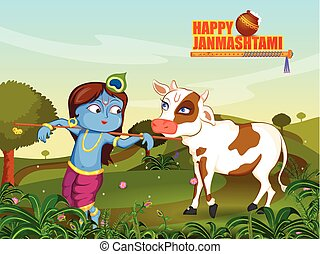 Krishna Janmashtami background - Kanha with Cow on Krishna...