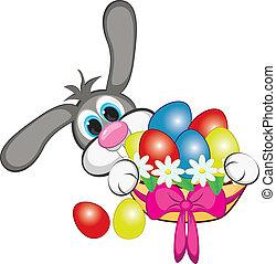 kanin, med, påsk eggar