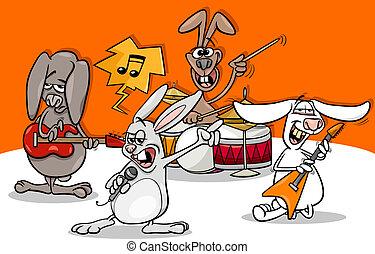 kaninchen, felsen- musik, band, karikatur