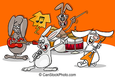 kaninchen, felsen- musik, karikatur, band