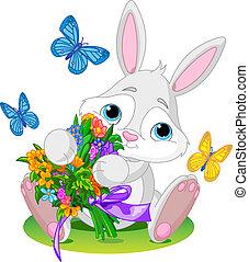 kaninchen, mit, blumengebinde
