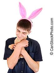 kaninchen, teenager, ohren