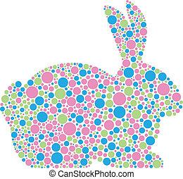kaninchenkaninchen, in, pastell, polka- punkte