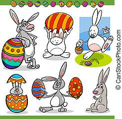 kaniner, sätta, påsk, tecknad film, illustration