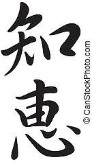 kanji, symbool, woord, wijsheid