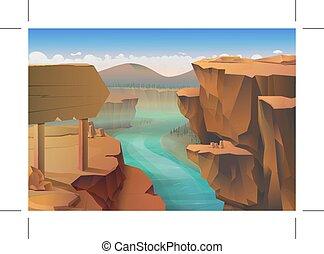 kanjon, bakgrund, natur