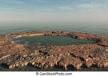 kanjon, och, hav