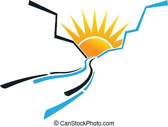 kanjon, skugga, med, sol, avbild, logo