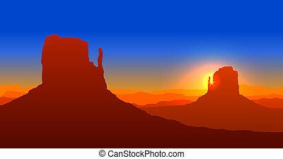 kanjon, solnedgång, storslagen