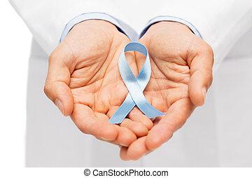 kanker, arts, hand, lint, prostaat, bewustzijn