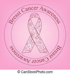 kanker, postzegel, geverfde, lint, bewustzijn, borst